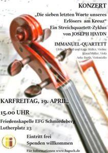 Konzert mit Immanuel-Quartett @ EFG Schmiedeberg, Friedenskapelle, Lutherplatz 23 in Schmiedeberg | Dippoldiswalde | Sachsen | Deutschland
